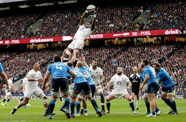"""<span class=""""element-image__caption"""">England's Maro Itoje claims a lineout against Italy.</span> <span class=""""element-image__credit"""">Photograph: Henry Browne/Reuters</span>"""