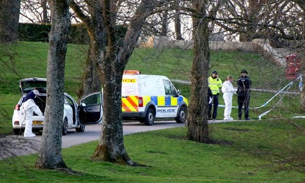 Emergency services attend the scene where a seven-year-old girl has died following a stabbing. (Phil Taylor/SWNS)