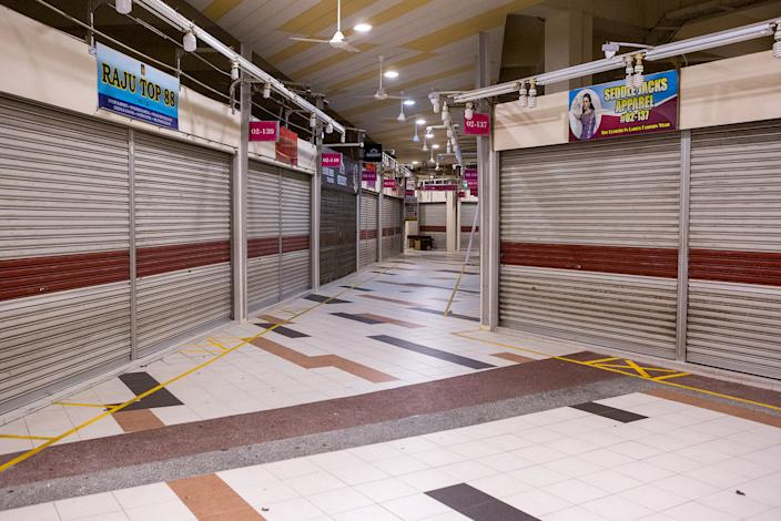 Closed shops seen at the Tekka Centre. (PHOTO: Dhany Osman / Yahoo News Singapore)