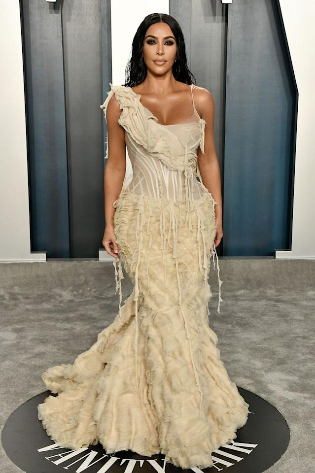 """<p>Reality star (and vintage obsessive) Kim Kardashian West outdid herself with her archive gown at the Vanity Fair after-party, <a href=""""https://www.harpersbazaar.com/uk/fashion/a30849393/kim-kardashian-vintage-alexander-mcqueen-oyster-dress-oscars/"""" target=""""_blank"""">wearing the Oyster gown from Alexander McQueen's spring/summer 2003 collection</a>, of which only two exist (and the other is sitting in the Metropolitan Museum of Art). A Christmas gift from her husband Kanye West, the gown was a perfect choice for the big night.</p>"""
