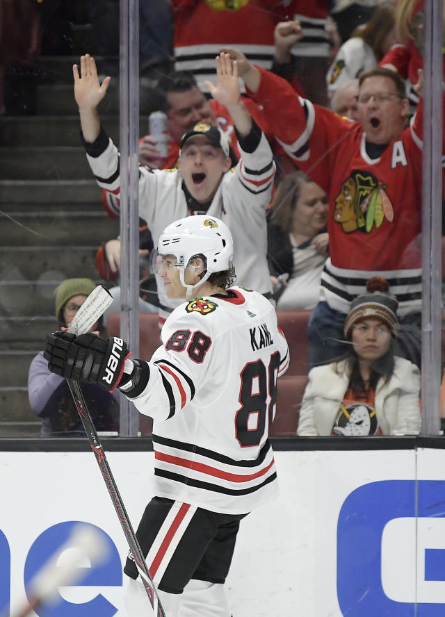 Chicago Blackhawks right wing Patrick Kane celebrates his goal during the third period of an NHL hockey game against the Anaheim Ducks on Wednesday, Feb. 27, 2019, in Anaheim, Calif. The Blackhawks won 4-3. (AP Photo/Mark J. Terrill)