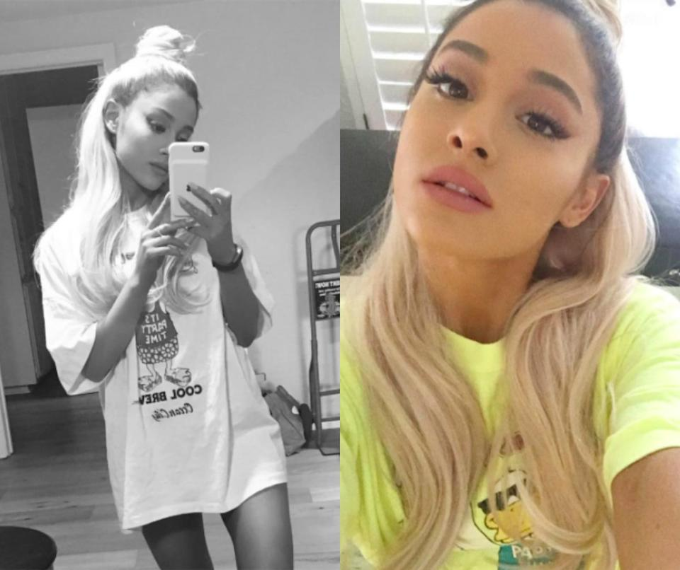 """<p>In November, Ariana shocked fans when she debuted her new blonde tresses on Instagram. She quickly reassured fans that she didn't go blonde. """"blonde (wig) ambition…"""" she captioned in one pic. <i> (Photos: Instagram/November 2016) </i> </p>"""