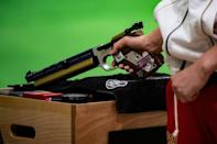 An athlete competes at a shooting test event for the Tokyo 2020 Olympics