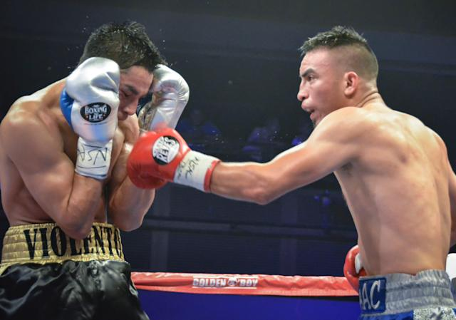 Horacio Garcia (L) seems to have a dent in the padding on his gloves he's wearing in a fight Thursday with Isaac Zarate in Las Vegas. The gloves are the same brand that Canelo Alvarez wanted to use for Saturday's bout with Gennady Golovkin. (Courtesy photo)