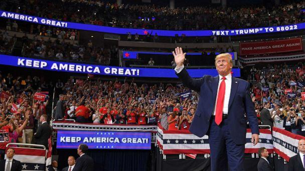 PHOTO: In this file photo, President Donald Trump arrives to speak during a rally at the Amway Center in Orlando, Fla. to officially launch his 2020 campaign on June 18, 2019. (Mandel Ngan/AFP/Getty Images, FILE)