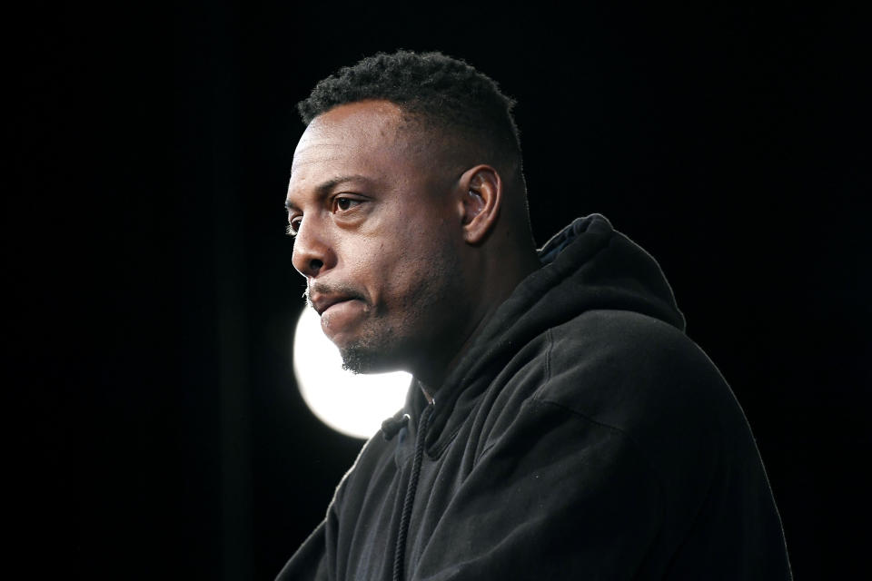 Basketball Hall of Fame Class of 2021 inductee Paul Pierce speaks at a news conference at Mohegan Sun, Friday, Sept. 10, 2021, in Uncasville, Conn. (AP Photo/Jessica Hill)