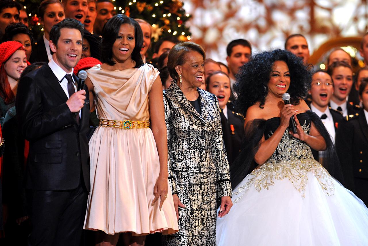 Singer Chris Mann, First Lady Michelle Obama, Marian Shields Robinson and singer Diana Ross speak onstage during TNT Christmas in Washington 2012 at National Building Museum on December 9, 2012 in Washington, DC. (Photo by Theo Wargo/Getty Images)