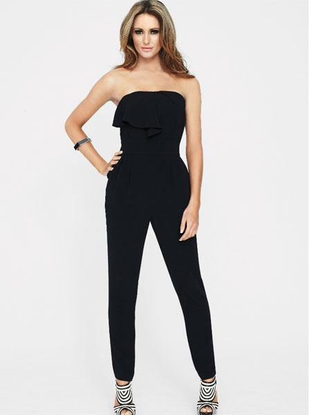 """<a target=""""_blank"""" href=""""http://www.very.co.uk/drama-queen-ruffle-strapless-jumpsuit/1104541823.prd?aff=awin&affsrc=131367&cm_mmc=awin-_-131367-_-Comparison+Engine-_-0_0""""><b>Drama Queen Ruffle Strapless Jumpsuit – £41 - Very</b></a><br><br>Flatter your waist in this super-slimming black jumpsuit with ruffle detail on the bust."""