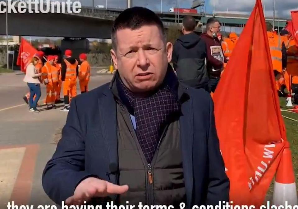 Howard Beckett appearing in a Unite campaign video  (Unite/Twitter)
