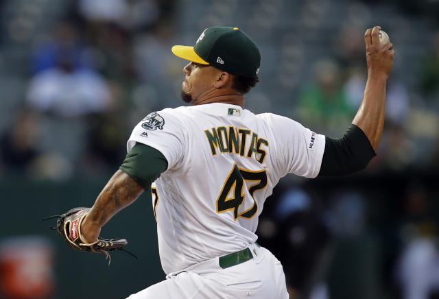 Oakland Athletics pitcher Frankie Montas works against the Los Angeles Angels in the first inning of a baseball game Tuesday, May 28, 2019, in Oakland, Calif. (AP Photo/Ben Margot)