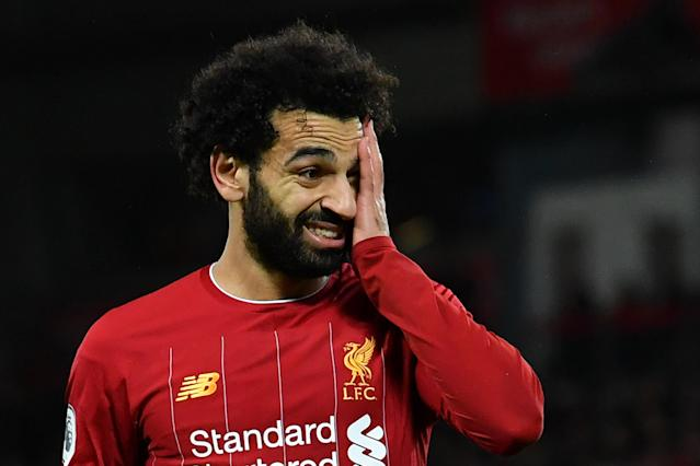Mohamed Salah and Liverpool are on a record-setting pace in the Premier League this season. (Photo by PAUL ELLIS/AFP via Getty Images)