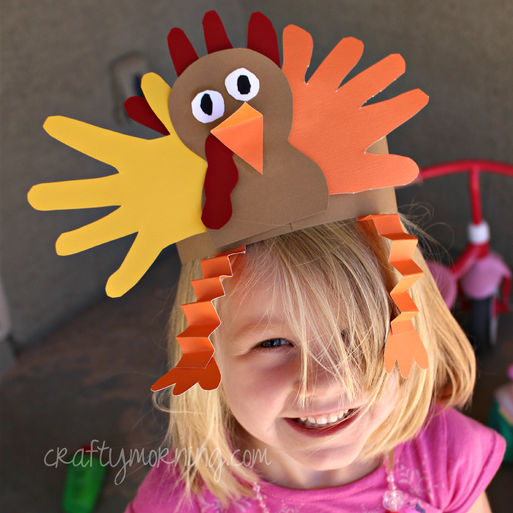 """<p>Make a craft and wear it, too! This cute turkey headpiece is made from traced hands and construction paper. </p><p><em><a href=""""http://www.craftymorning.com/make-handprint-turkey-hat-thanksgiving-craft/"""" rel=""""nofollow noopener"""" target=""""_blank"""" data-ylk=""""slk:Get the tutorial at Crafty Morning »"""" class=""""link rapid-noclick-resp"""">Get the tutorial at Crafty Morning »</a></em> </p>"""