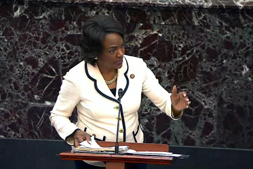 Rep. Val Demings (D-Fla.) speaks during impeachment proceedings against then-President Donald Trump on Jan. 30, 2020. As a floor manager, Demings helped lead the prosecution of Trump over the Ukraine scandal. (Photo: Handout via Getty Images)