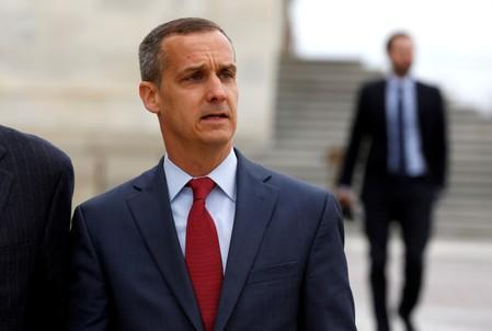 FILE PHOTO: Former Trump campaign manager Corey Lewandowski departs after appearing before the House Intelligence Committee on Capitol Hill in Washington