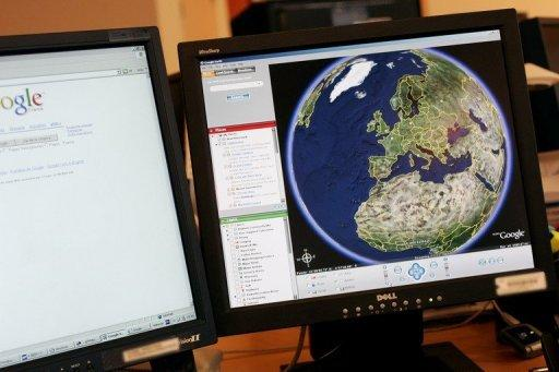 A view of the African and European continents on Google Earth on a computer screen