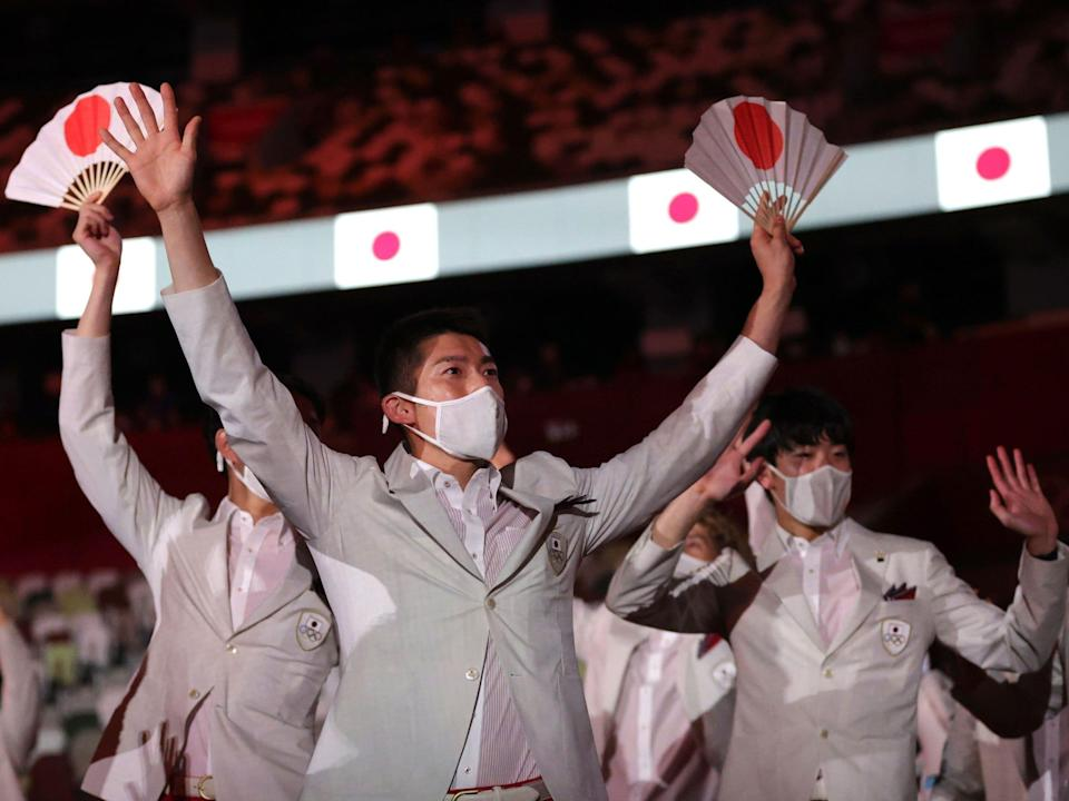 Athletes from Japan make their entrance at the Summer Olympics.