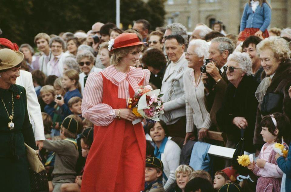<p>Diana wearing a Bellville Sassoon suit and a John Boyd hat during a trip to Tasmania in March 1983.</p>