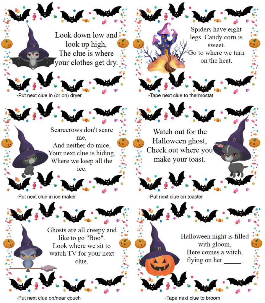 """<p>This Halloween <a href=""""https://www.goodhousekeeping.com/life/parenting/g32050844/scavenger-hunt-ideas-for-kids/"""" rel=""""nofollow noopener"""" target=""""_blank"""" data-ylk=""""slk:treasure hunt"""" class=""""link rapid-noclick-resp"""">treasure hunt</a> comes with more than 20 clues, with extra blanks you can customize to fit your home's specs. As for the treasure at the end? Well, that's up to you. Think toys, candies, or special holiday baked goods.<br></p><p><em><a href=""""https://www.thehousewifemodern.com/blog/free-printable-halloween-treasure-hunt/"""" rel=""""nofollow noopener"""" target=""""_blank"""" data-ylk=""""slk:Get the printable at The Housewife Modern »"""" class=""""link rapid-noclick-resp"""">Get the printable at The Housewife Modern »</a></em></p>"""