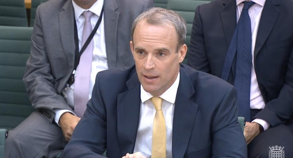 Foreign Secretary Dominic Raab giving evidence to the Commones Foreign Affairs Committee in London, about the Government's handling of the Afghanistan crisis. Picture date: Wednesday September 1, 2021.