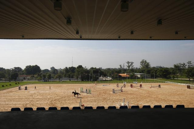 A general view of the equestrian venue at Deodoro Sports Complex for the Rio 2016 Olympic Games in Rio de Janeiro July 3, 2014. REUTERS/Ricardo Moraes (BRAZIL - Tags: BUSINESS CONSTRUCTION SPORT EQUESTRIANISM OLYMPICS)
