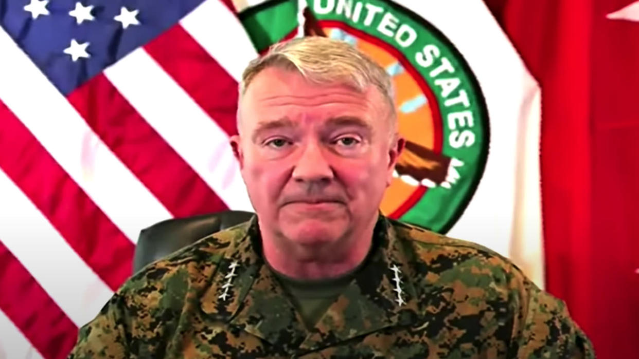 General Frank McKenzie announces completion of U.S. withdrawal from Afghanistan on August 30th, 2021 (Yahoo News via Reuters TV)