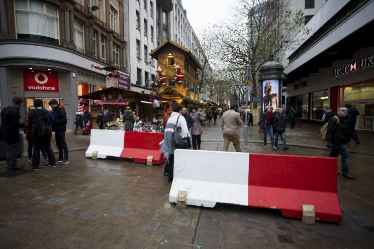 The bollards erected in Birmingham (Picture: SWNS)
