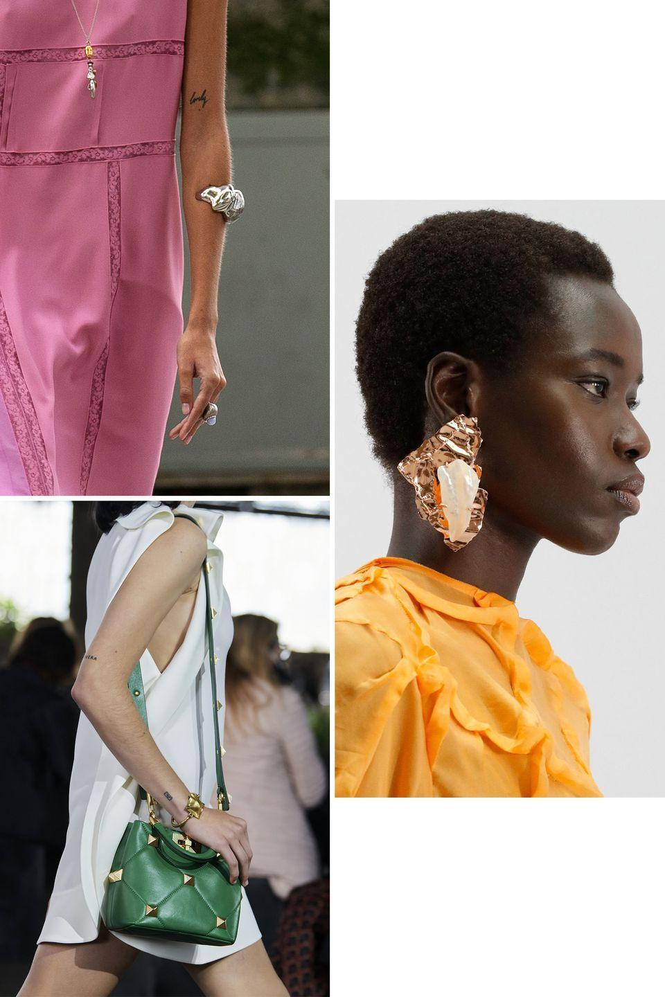 <p>Metals don't always need to have a smooth finish to draw attention. Indeed, hammering gold, silver, and brass can add some oomph to simple silhouettes and cohesion to more abstract ones. It's a technique that has been used over the centuries and took center stage in a number of collections during the spring 2021 season. </p><p>Acne Studios showcased oversized copper earrings and chokers in organic shapes, appearing as if they were unearthed from an excavation site. Chloé also followed the same idea, but presented a much more refined assortment of cuffs that resembled pieces from the Bronze Age. Meanwhile Valentino brought the technique into the modern era, adding small grooves to its signature stud jewelry. </p><p>With hammered metals, it is the texture that takes center stage. So if you want to nail this trend, make sure to shop the selection below. </p><p><em>Clockwise from top left: Chloé, Acne Studios, Valentino. </em></p>