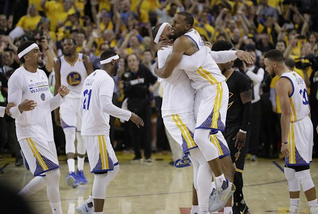 <p>Golden State Warriors players celebrate after beating the Cleveland Cavaliers in Game 5 of basketball's NBA Finals in Oakland, Calif., Monday, June 12, 2017. The Warriors won 129-120 to win the NBA championship. (AP Photo/Marcio Jose Sanchez) </p>