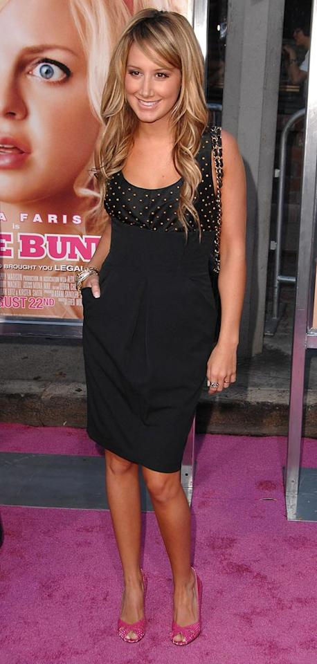 """<a href=""""http://movies.yahoo.com/movie/contributor/1804504114"""">Ashley Tisdale</a> at the Los Angeles Premiere of <a href=""""http://movies.yahoo.com/movie/1809921361/info"""">The House Bunny</a> - 08/20/2008"""