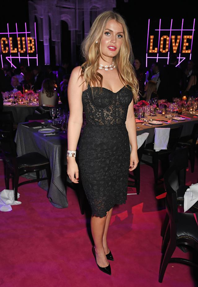 <p>Spencer went for a fiery Dolce & Gabbana LBD as she attended the Elton John AIDS Foundation event in London. (Photo: Getty Images) </p>