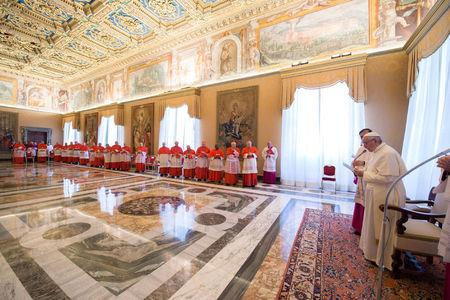 Pope Francis talks during a Consistory for the causes of Saints at the Vatican April 20, 2017. Osservatore Romano/Handout via REUTERS
