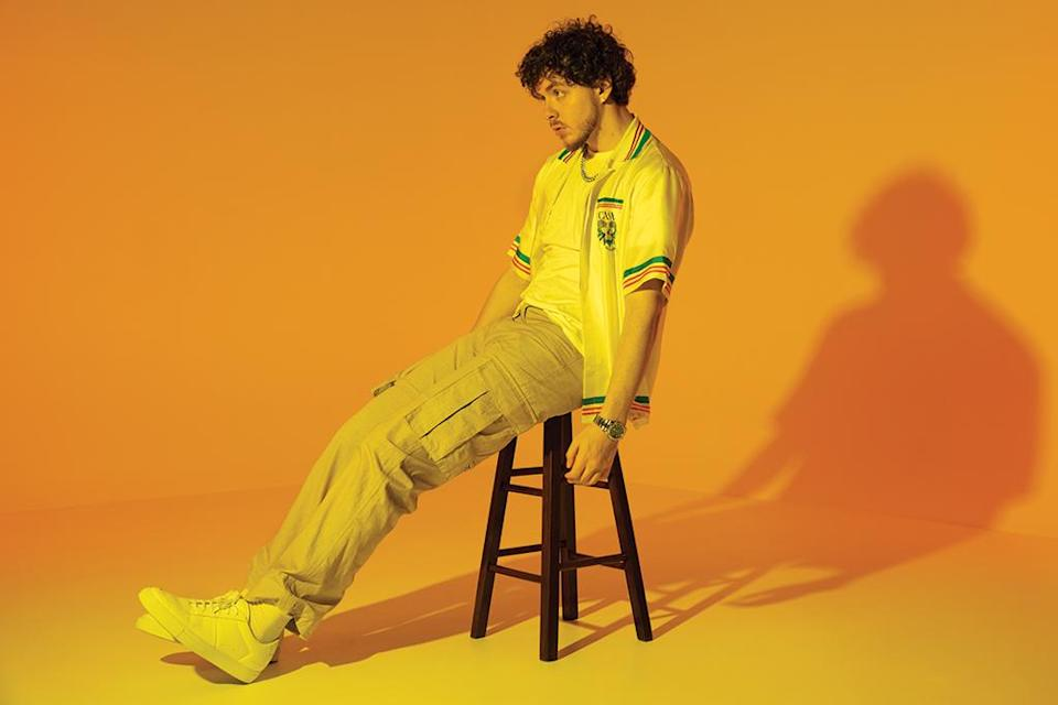 Jack Harlow in Casablanca shirt, Nahmias pants and Common Projects sneakers. - Credit: Cam Kirk