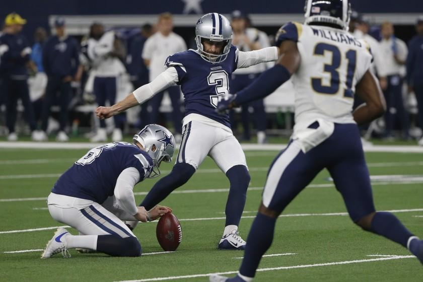 Dallas Cowboys kicker Kai Forbath (3) boots a field goal in the second half of an NFL football game against the Los Angeles Rams in Arlington, Texas, Sunday, Dec. 15, 2019. (AP Photo/Ron Jenkins)
