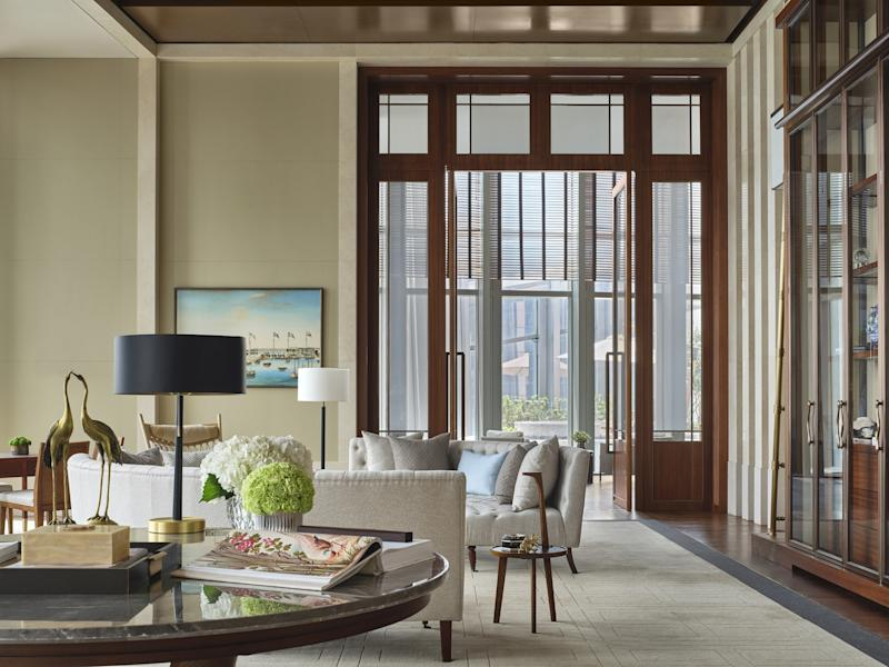 A lounge in one of the rooms of the new Rosewood Guangzhou.