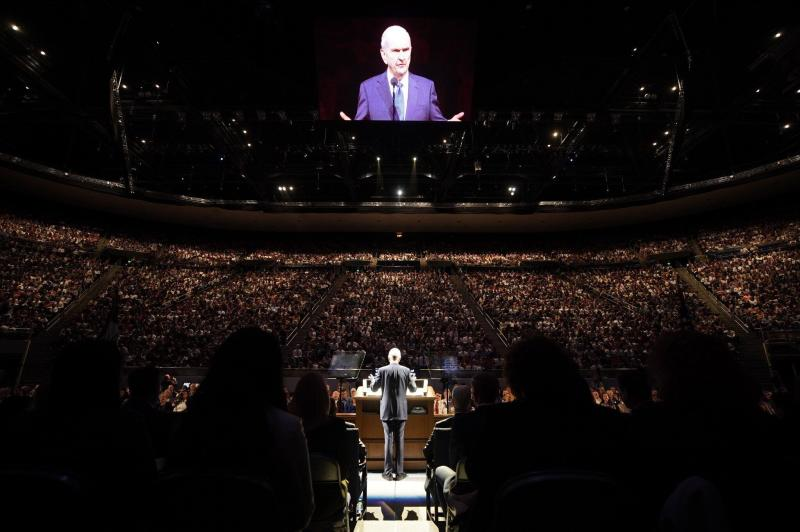 President Russell M. Nelson of The Church of Jesus Christ of Latter-day Saints speaks at Brigham Young University in Provo, Utah, on Sept. 17, 2019. (Photo: Intellectual Reserve, Inc)