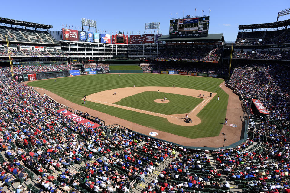 The Texas Rangers have banished a man accused of making racist taunts at a recent home game. (Getty)