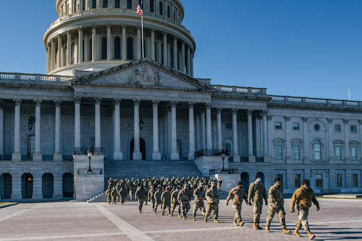 <p>File Image: National Guard Citizen-soldiers exit after a U.S. Capitol tour on 23 January 2021 in Washington, DC</p> (Getty Images)