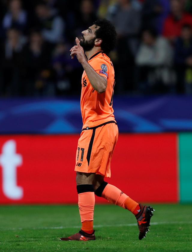Soccer Football - Champions League - Maribor vs Liverpool - Ljudski vrt, Maribor, Slovenia - October 17, 2017 Liverpool's Mohamed Salah celebrates scoring their fourth goal Action Images via Reuters/Paul Childs