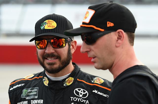 "<a class=""link rapid-noclick-resp"" href=""/nascar/sprint/drivers/380/"" data-ylk=""slk:Martin Truex Jr"">Martin Truex Jr</a>. and Cole Pearn are officially joining Joe Gibbs Racing in 2019. (Getty)"