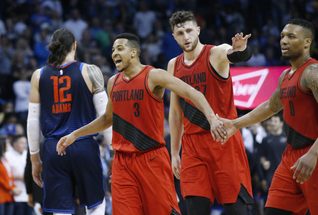 "After an odd summer, is trouble on the way for C.J. McCollum and <a class=""link rapid-noclick-resp"" href=""/nba/players/5012/"" data-ylk=""slk:Damian Lillard"">Damian Lillard</a> in Portland? (AP)"