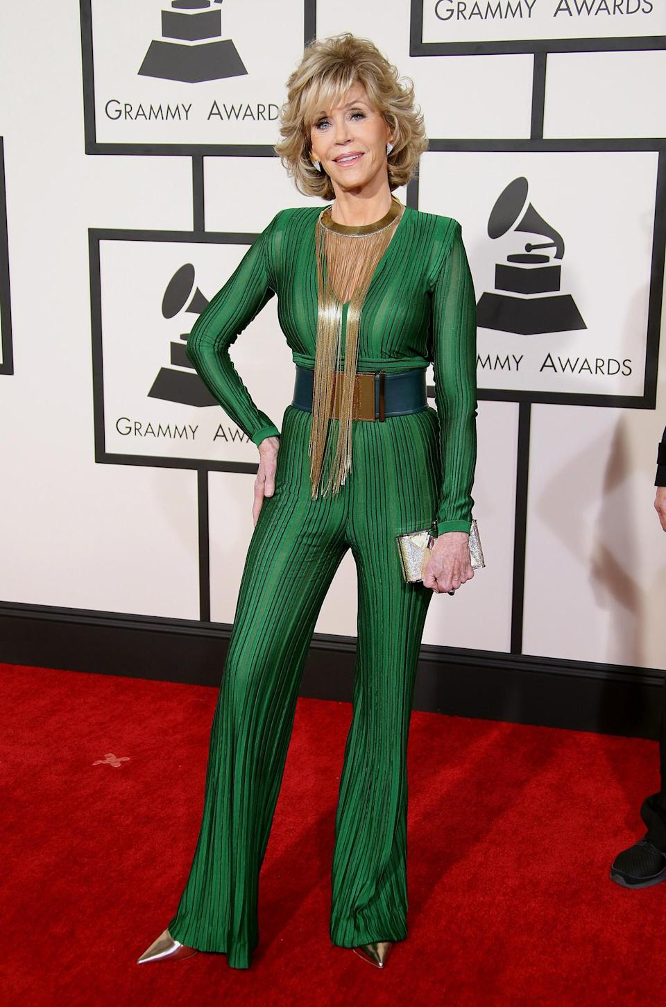 <p>The former fashion model has never lost her sense of style. Fonda wore this stunning emerald jumpsuit at the 57th Annual Grammy Awards. (Photo: Dan MacMedan/WireImage) </p>