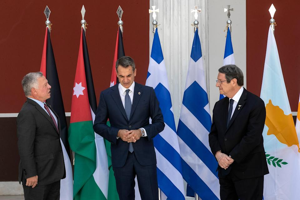 Greece Cyprus Jordan Summit (Copyright 2021 The Associated Press. All rights reserved.)