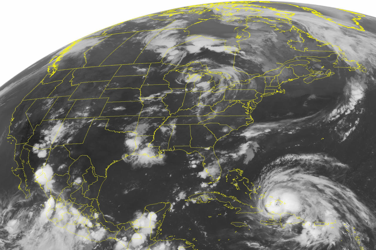 """FILE - This Wednesday, Aug. 24, 2011 NOAA satellite image shows Hurricane Irene, a category 2 storm with winds up to 100 mph and located about 400 miles southeast of Nassau. According to a study published Monday, Oct. 14, 2019 in the journal Geophysical Research Letters, scientists have discovered a real life mash-up of two feared disasters _ hurricanes and earthquakes _ called """"stormquakes."""" It's a shaking of the sea floor during a hurricane or nor'easter that rumbles like a magnitude 3.5 earthquake. It's a fairly common natural occurrence that wasn't noticed before because it was in the seismic background noise. (Weather Underground via AP)"""