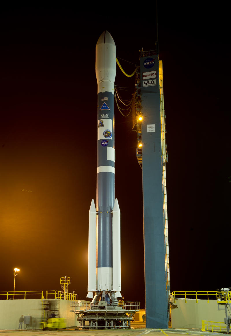 In this image provided by NASA the Delta II rocket with it's Aquarius/SAC-D spacecraft payload is seen as the service structure is rolled back on Thursday, June 9, 2011, at Vandenberg Air Force Base, Calif.  The joint U.S./Argentinian  mission is set to launch June 10 It will map the salinity at the ocean surface, information critical to improving our understanding of two major components of Earth's climate system: the water cycle and ocean circulation. (AP Photo/NASA - Bill Ingalls)