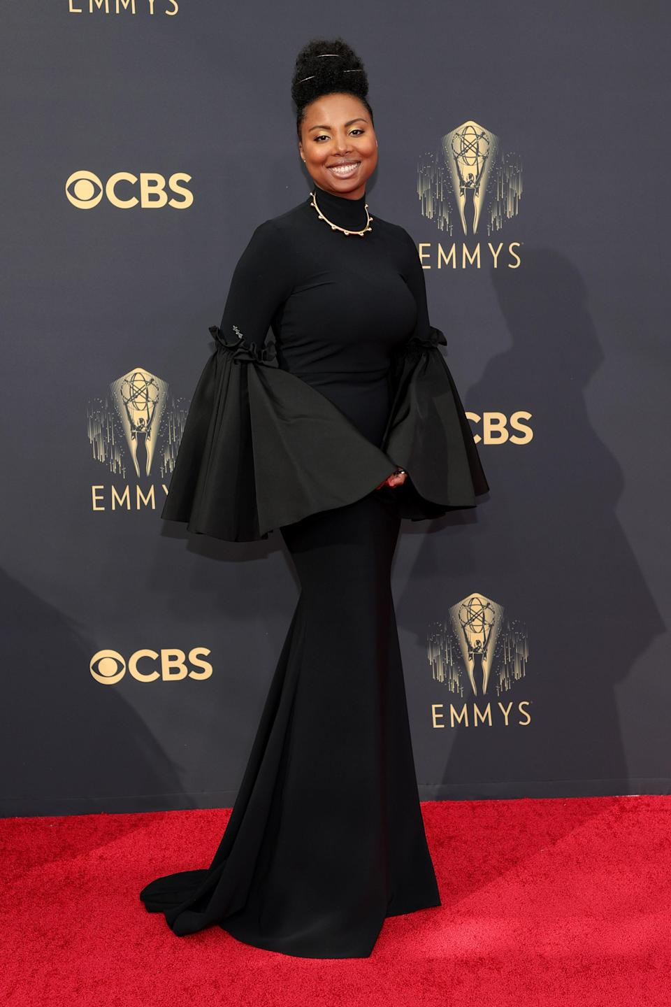 We're big fans of Misha Green's statement sleeves, which brought a touch of whimsy to her high-necked black gown.