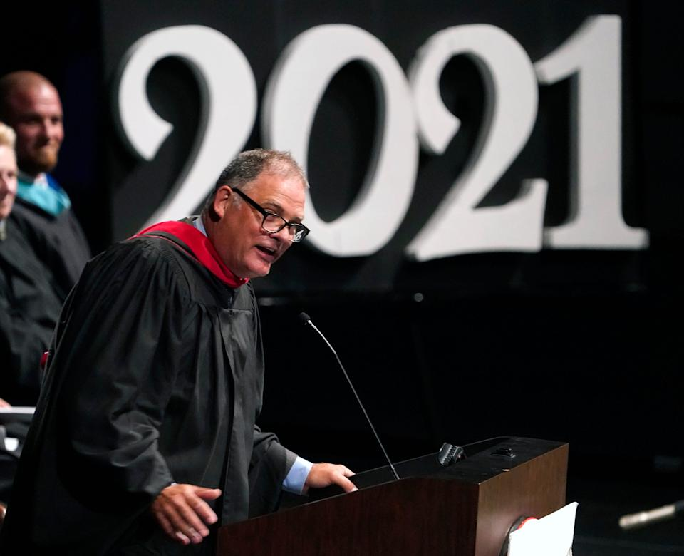 Principal Jeff Reaves prepared a special farewell for each of the more than 400 graduates of Matanzas High School in Daytona Beach, Fla., on June 2.