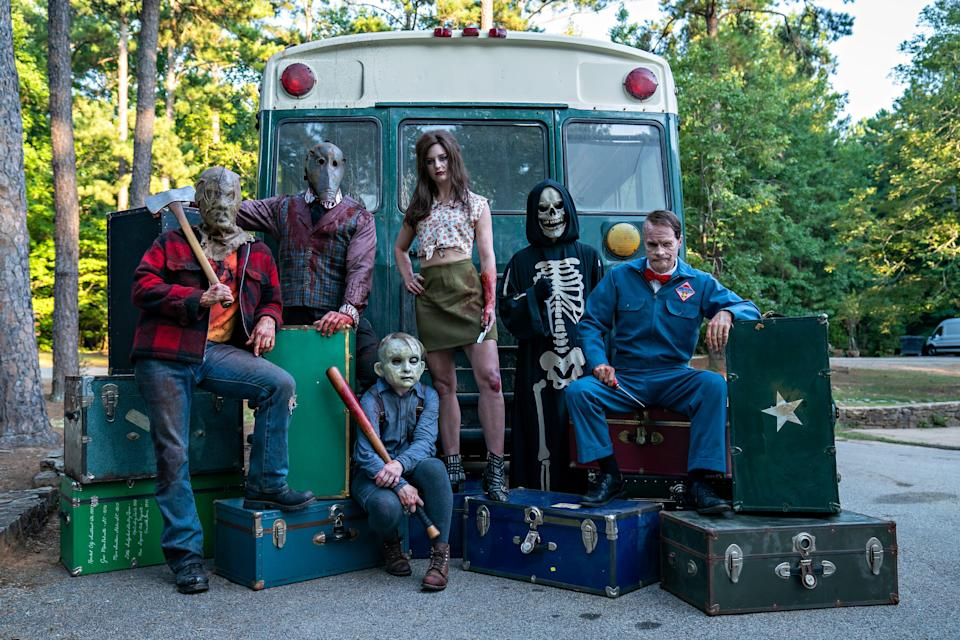 """A """"family"""" photo for the """"Fear Street"""" villains includes (from left) the Camp Nightwing Killer, The Grifter, Billy Barker, Ruby Lane, Skull Mask and The Milkman."""