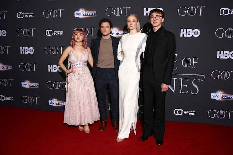 Actors Maisie Williams, from left, Kit Harington, Sophie Turner and Isaac Hempstead pose for photographers at the premiere of season eight of the television show 'Game of Thrones' in Belfast, Northern Ireland, Friday, April 12, 2019. (Photo by Joel C Ryan/Invision/AP)