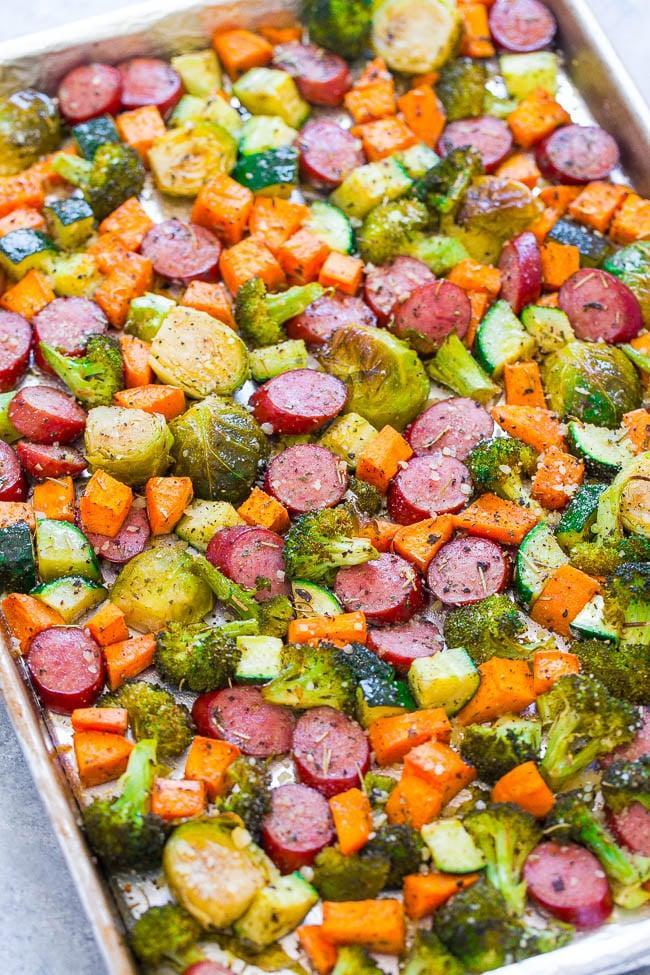 "<p><strong>Get the recipe: </strong><a href=""https://www.averiecooks.com/2017/08/sheet-pan-turkey-sausage-vegetables.html"" class=""link rapid-noclick-resp"" rel=""nofollow noopener"" target=""_blank"" data-ylk=""slk:sheet-pan turkey sausage and vegetables"">sheet-pan turkey sausage and vegetables</a> </p>"