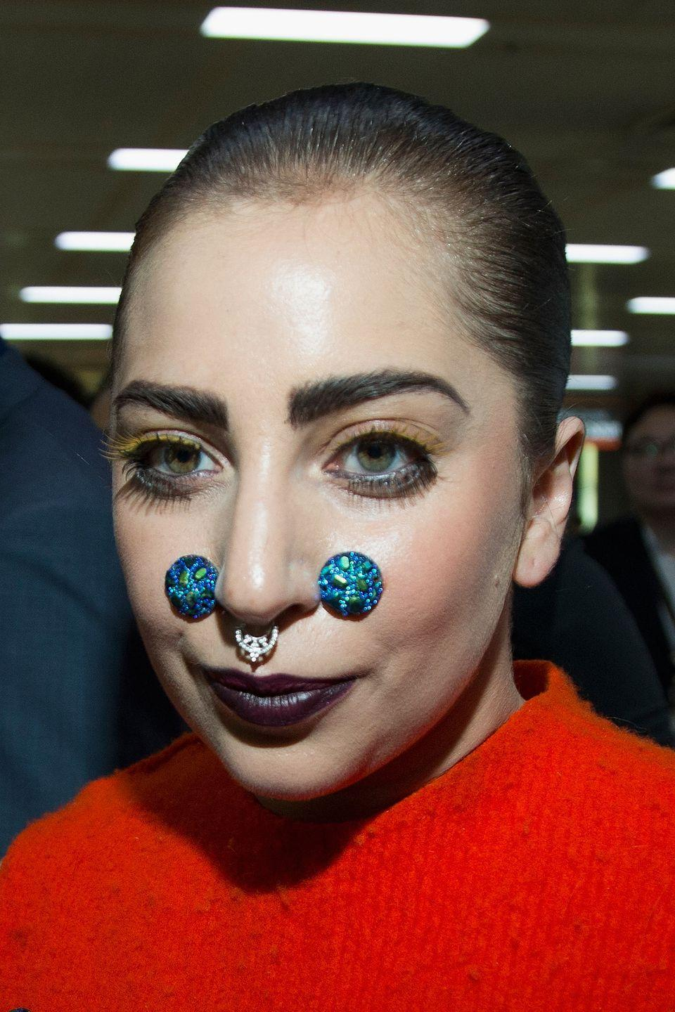 <p><strong>Lady Gaga, 2014</strong>: At South Korea's Gimpo Airport, this time, wearing cheeks appliques that makes her look like a Pokémon character. </p>
